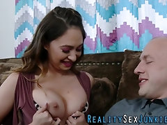 Real babe throats cock