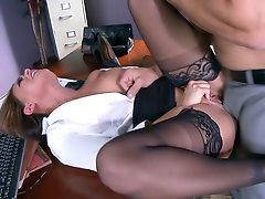 Big tits secretary Eva Angelina rides her boss