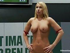 Holly Heart gets fiercely fucked by blonde milf Mellanie Monroe