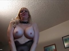 Busty Cherise thinks about stiff cocks while rubbing her shaved cunny