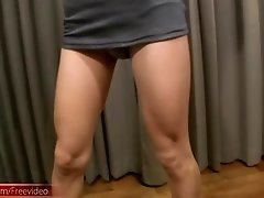 Slender Asian tranny shows off tight ass before jerking off