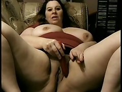 BBW masturbates and toy fucks before sucking cock and getting facial