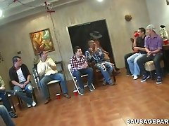 Crazy hardcore gay group cock-sucking session indoors