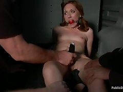 Slender Emma gets tied up in the garage and fucked by a gang