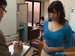 Japanese hottie wearing lingerie shows her body to a man