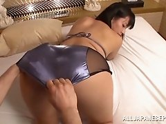 Horny Japanese girl in a shiny swimsuit loves to fuck
