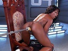 Slutty black babe extreme machine pussy sex