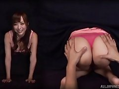 A horny stranger pulls down her shorts and plays with her pussy