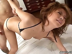 Emotional Asian cowgirl Hotaru Akane gets hammered from behind