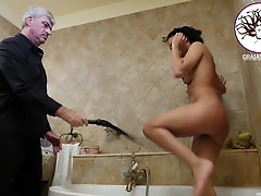 Screaming bitch pussy whipped in the bathroom