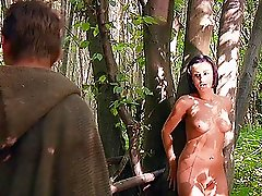 Angelic brunette with natural tits gets fucked hardcore in an enticing forest sex shoot