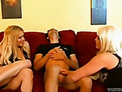 Two hot blond shemales blow one big hard sausage