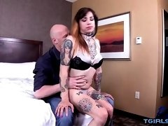 Tattoo shemale bareback with orgasm