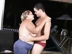 Fat Grandma Wants The Pool Boy To Fuck Her