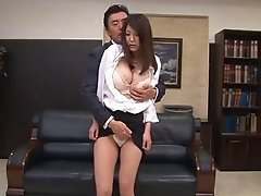 Big tits babe in stockings enjoying her pussy fingered in office group sex