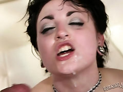 Tattoo goth slut get annihilated by two studs