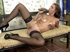 Blonde mature amateur MILF Sofie M. strips and masturbates at home