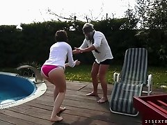 Big tit slut fucks an older man at the pool