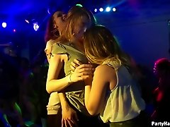 Muscular dudes seducing the hot ladies in the underground club