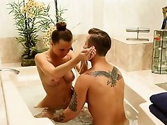 Sexy and brunette masseuses Adria Fox gets hammered hard