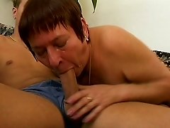 Granny with a hairy pussy can't wait to have a taste of that dick