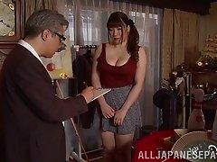 Japanese slut Chitose Saegusa shows her body to a few men