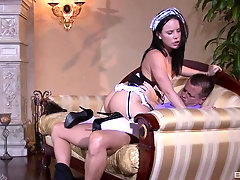 Teen maid Katie St. Ives seduces her boss into riding his hard dick
