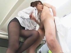 Asian pantyhose foreplay makes his hard dick cum