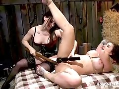 Busty slave gal gets dildoed