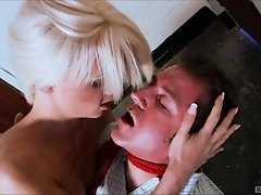 Adorable blonde spreads her legs for the rock-solid cock of her buddy
