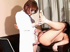 Beautiful Japanese milf doctor fucks him in the ass