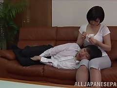 Sexy Japanese girl with a hot body getting her hairy pussy licked and fingered