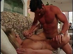 Randy blonde bends over for a handsome hunk's throbbing schlong