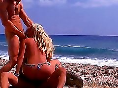 Bree Olson gets pussy fucked hardcore on the beach in threesome