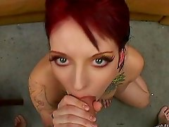 After a blowjob she gets her tattooed pussy pounded