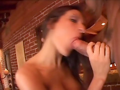 Giant breasted sexy lady Austin Kincaid lures dude to work on his dick in the pub