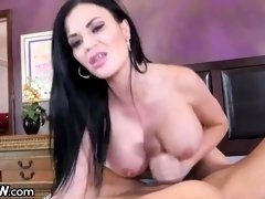 Black-Haired with a supah deep hatch, Jasmine Jae is stretching her gams broad open and getting porked