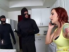 Burglars pull out their dicks and bang the slutty redhead in tights