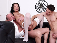 Angie Moon deals two dicks in the most amazing manners