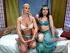 Bound blonde roughfucked by ts gal