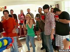 Naughty brunette girls get fucked at the college party