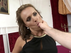 POV blowjob and a doggy fuck with classy MILF Sofie getting a facial