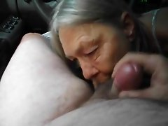 Granny's Blowjob in the Car