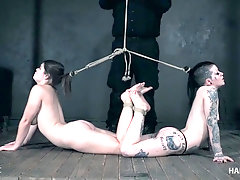 Rough BDSM domination for two enslaved bitches