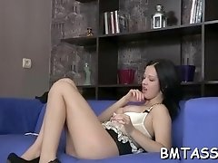 Luscious young darling Evelyn Cage with great natural tits rides cock
