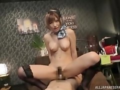 Busty Japanese maid Natsuki Minami pussy pounded hardcore on the bed