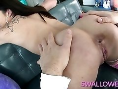 Adria gags on a cock then swallows