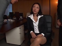 During overtime at the office Yuki Tanihara gets tag teamed by two guys