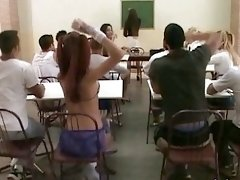 Classroom banging with a beautiful tranny