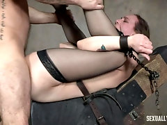 Babe in high heels and lingerie Sierra Cirque fucked and gagged
